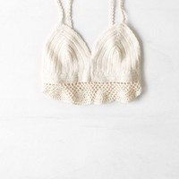 AEO Women's Crochet Crop Top (Cream)