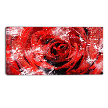 Red Rose Perfect View Floral Canvas Wall Art Print