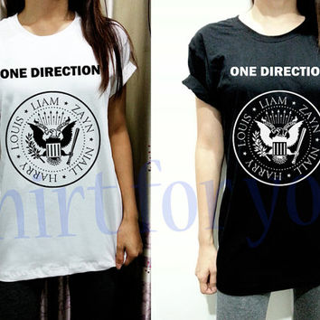 S M L XL XXL One Direction 1D Ramone Thin Cotton Unisex White Black Men Women Short Sleeve Shirt Tshirt Tee