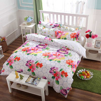 White with Floral Print Super Soft Bed Set