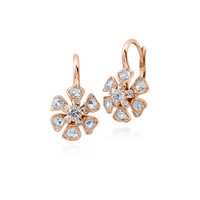 Maria Canale Small Diamond Flower Drop Earrings in 18K Rose Gold