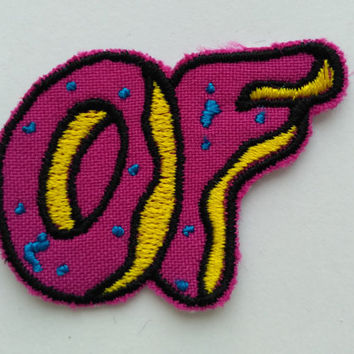 Patch #12. OF Patch. Tumblr Patches, Embroidered Iron On Patch, Iron on Applique, Sewing Appliques