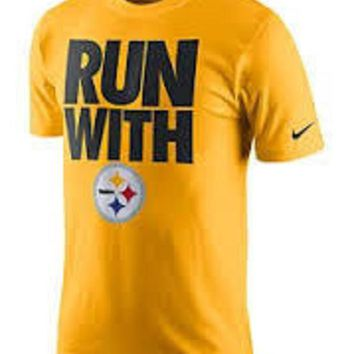 DCCKG8Q NFL Pittsburgh Steelers Nike Black Run With T-Shirt