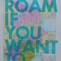 Western Expansion / Roam if You Want To / Letterpress Print on Antique Atlas Page