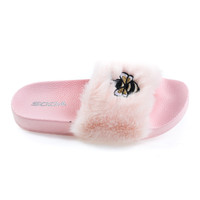 Bee2 Lt Pink By Soda, Children Girls Bee Embroidered Patch, Faux Fur Slip On Slippers. Kid Shoe