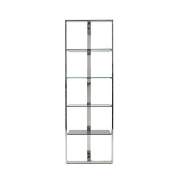 Euro Style Sienna Collection Sienna Shelving Glass Panels in Gray/Stainless Steel