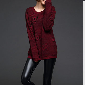 Fashion Loose Round Neck knit Set head Sweater