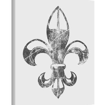 Distressed Fleur de Lis Printed Canvas Art Portrait - Choose Size