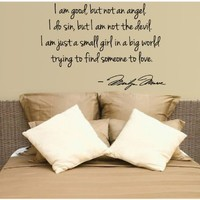 Marilyn Monroe Wall Decal Decor Quote I am not an angel...Large Nice