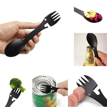EDC Outdoor Mini Portable Spoon Fork Lightweight Useful Titanium Camping Backpacking Cutlery Spork Fork Spoon