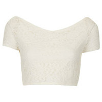 Lace Bardot Crop Top - Jersey Tops  - Clothing