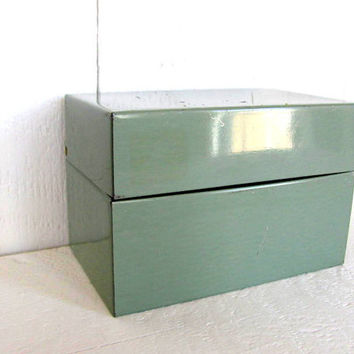 Vintage Green Metal Address Box with Cards, Recipe Box, Metal Box, Green Metal Storage