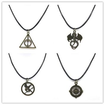 WLP jewelry 12 Bijoux bird Anchor Peace sun Star Moon Peace Dragon Triangle Leather Pendant Necklace For Women Bronze necklace