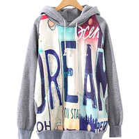 "Grey ""DREAM"" Print Hoodie Jacket"