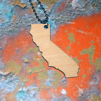 California Necklace in Birch Wood Lasercut Wooden by purpleandlime