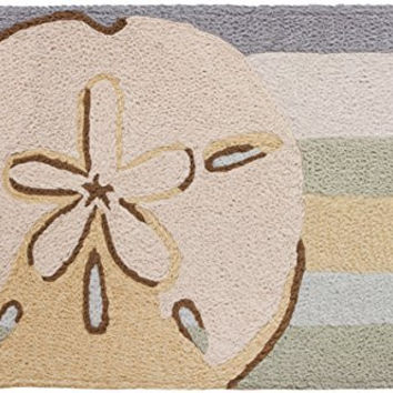 "Jellybean 20""x 30"" Accent Rug Sanddollar with Memory Foam Nautical"