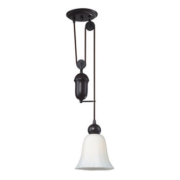 Elk Lighting 65090-1 Farmhouse Oiled Bronze Pulley Adjustable Height One Light Mini Pendant