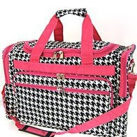 Hot Pink Trim Black White Houndstooth Print Duffle Dance Cheer Gym Bag Large 22