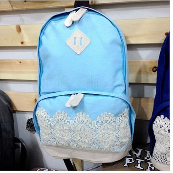 Canvas Women Backpack Fashion Dot Printing Backpack School Bags For Girls Preppy Style Mochila
