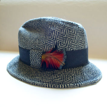 VINTAGE GANGSTER FEDORA Handsome Vintage Tweed Black and Grey Hat with Colorful Feather and Black Band Made Mid Century by Towncraft