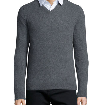 Cashmere V-Neck Sweater, Light Gray, Size: