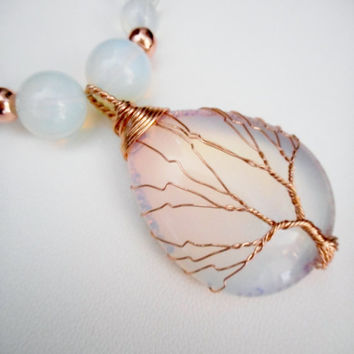 Rose Gold Opalite Tree of Life Wire Wrapped Pendant Necklace, Statement Necklace, Stone Jewelry, Tree of Life Pendants, Beaded Necklace