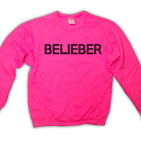 Holiday Sale  Belieber  Justin Bieber Pink by TopBananaPhilly