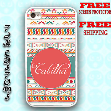 iPhone 4 Case iPhone 4s Case iPhone Custom Monogram Case Tribal Pattern Case Durable Rubber Borders