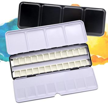 Empty Watercolor Paints Tins Box Palette Painting Storage with 6/12/24 Pcs Full Pans and 12/24/48 Half Pans For Art Painting