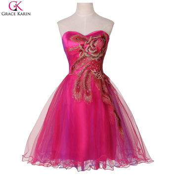 Elegant Short Evening Dresses for Wedding Party Grace Karin 6 Color Tulle Ball Gown Red Blue Black Fuchsia Feather Peacock Dress