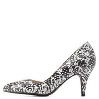 Black/White Printed D'Orsay Kitten Heel Pumps by Charlotte Russe