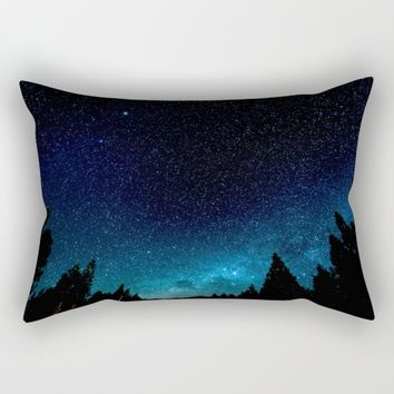 Black Trees Turquoise Milky Way Stars Rectangular Pillow by 2sweet4words Designs