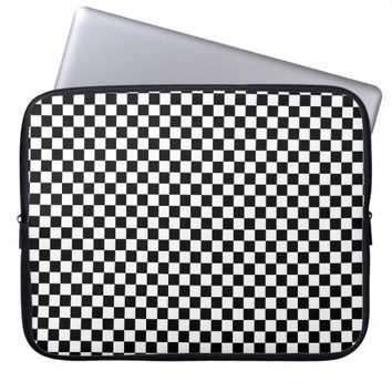Black and White Checkerboard Pattern Laptop Sleeve