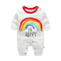 Cute Newborn Infant Baby Girl Boy Clothes Rainbow Long Sleeve Romper I'M Happy  Playsuit One Pieces Outfit Sunsuit