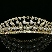 Gold Bridal Rhinestones Crystal Pearls Wedding Crown Tiara 9394