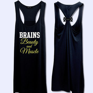 Brains beauty and muscle workout fitness bow tank top PK_479