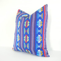 Blue Decorative Pillows, Mexican Pillow, Mexican Cushion, Aztec Pillows, 16x16 inch decorator pillow tribal with red pom pom fringe