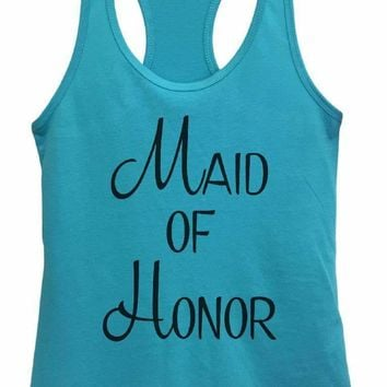 Womens Maid Of Honor Grapahic Design Fitted Tank Top