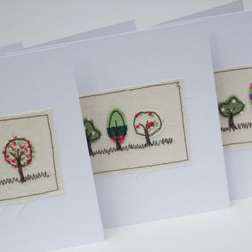 3 Little Trees Card - Embroidered
