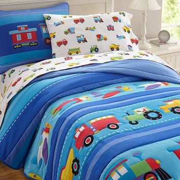 Olive Kids Trains, Planes & Trucks Comforter Set (Blue)