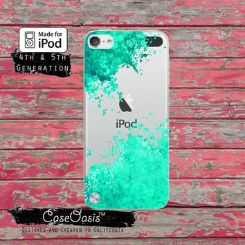 Mint Green Paint Splatter Art Tumblr Inspired Cute Case for Clear Transparent Rubber iPod Touch 5th Generation Case 5th Gen Cover