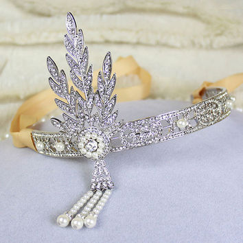 Gatsby headpiece, Gatsby hairpiece, 1920s head piece, 1920 accessory, Gatsby party, Flapper Headband