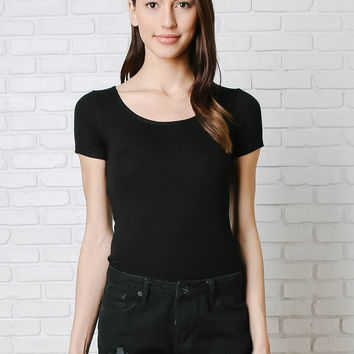 Basic Black Ribbed Tee