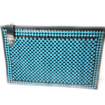Prada Women's Blue Black Madras Woven Leather Clutch Handbag BP8681