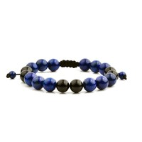 Men's Lapis Lazuli and Black Onyx Polished Natural Healing Stone Bead Adjustable Bracelet - 8 inches (10mm Wide) | Overstock.com Shopping - The Best Deals on Men's Bracelets