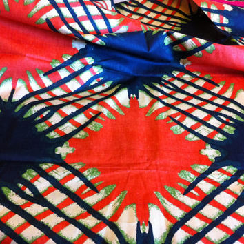 African Wax Print Fabric by the Half  Yard. Black and Orange Ink Blot--Made in Mali