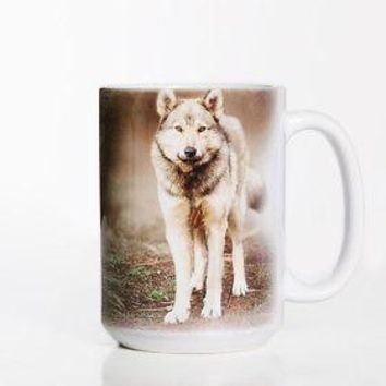 New GREY WOLF PORTRAIT 15 OZ CERAMIC COFFEE MUG   the mountain
