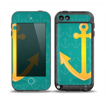 The Gold Stretched Anchor with Green Background Skin for the iPod Touch 5th Generation frē LifeProof Case
