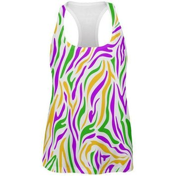 CREYCY8 Mardi Gras Zebra Stripes Costume All Over Womens Work Out Tank Top
