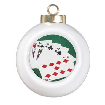 Poker Hands - Two Pair - Jack, Four Ceramic Ball Christmas Ornament